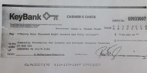 key back cashiers check